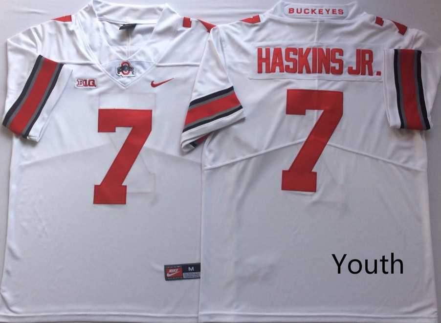 Youth Ohio State Buckeyes 7 Dwayne Haskins Jr. White Youth College Football Jersey