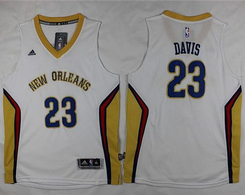 Youth Pelicans #23 Anthony Davis White Stitched  NBA Jersey