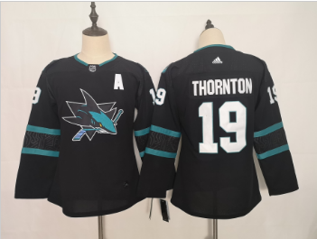 Youth Sharks 19 Joe Thornton Black Youth Adidas Jersey