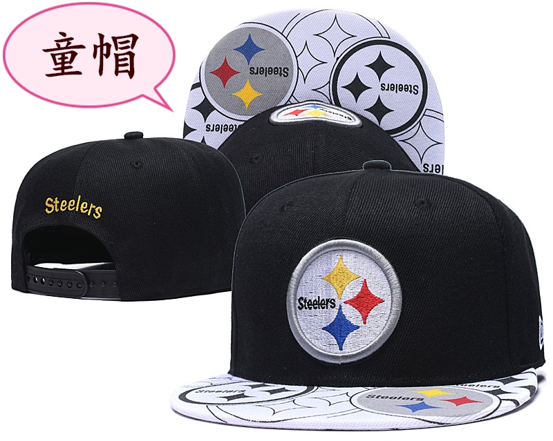 Youth Steelers Team Logo Black Adjustable Hat GS