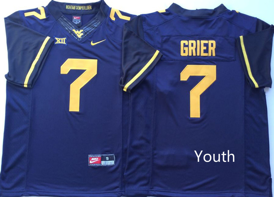 Youth West Virginia Mountaineers 7 Will Grier Blue Youth Nike College Football Jersey