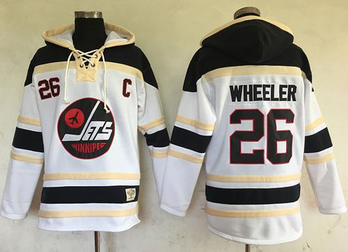 ets #26 Blake Wheeler White Sawyer Hooded Sweatshirt Stitched NHL Jersey