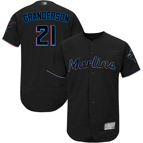 marlins #21 Curtis Granderson Black Flexbase Authentic Collection Stitched Baseball Jersey