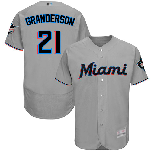 marlins #21 Curtis Granderson Grey Flexbase Authentic Collection Stitched Baseball Jersey