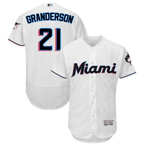 marlins #21 Curtis Granderson White Flexbase Authentic Collection Stitched Baseball Jersey