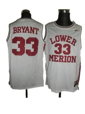 merion #33 kobe bryant white basketball embroidered ncaa jersey