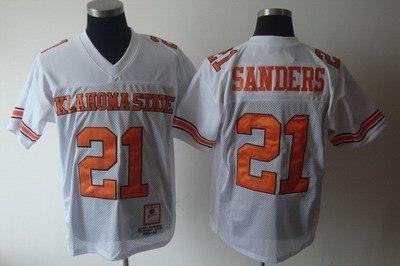 ncaa oklahoma state cowboys 21 barry sanders white ncaa jerseys