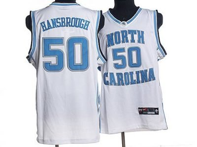 north carolina #50 tyler hansbrough white embroidered ncaa jersey