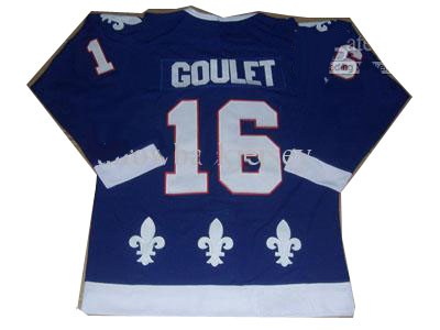 quebec nordiques #16 michel goulet blue ccm ice hockey jersey