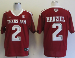 Addidas Texas A&M Aggies Johnny Manziel 2 Football Authentic NCAA Jerseys - Marron