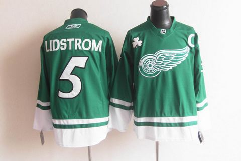 st partys day deroit red wings 5 nicklas lidstrom green jerseys